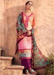 Beauty India Digital by Beautiful Magenta Orange Neck Embroidery Cotton Pakistani Suit