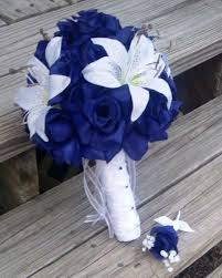royal blue boutonniere royal blue white bouquet with matching boutonniere