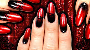 burlesque red and black lace vampy ombre nail art sponge gradient