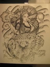 dragon dream catcher nice japanese lady with dragon koi fish tattoo design