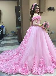 quinceanera pink dresses gown the shoulder pink quinceanera dress with flowers