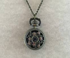 necklace with watch pendant images Brass pink mini flower pocket watch pendant jpg