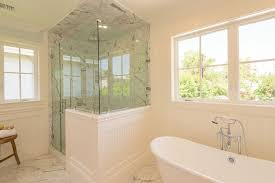 Bathrooms With Freestanding Tubs Cottage Master Bathroom With Freestanding Bathtub U0026 Wainscoting In