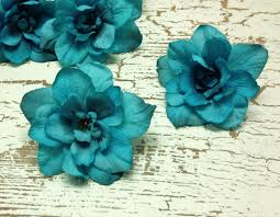 turquoise flowers 5 turquoise delphinium blossoms aqua blue green artificial