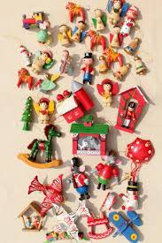 80s vintage tiny wood ornaments tree decorations from