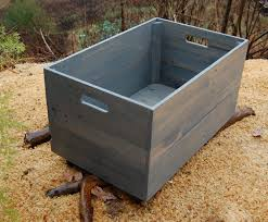 large classic gray wood crate toy storage reclaimed wood