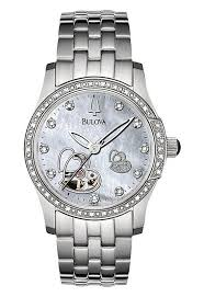 bulova ladies diamond bracelet watches images Bulova mechanical ladies 39 double heart motif round watch watch jpg