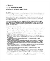 good resume for accounts executive responsibilities for marketing very attractive marketing account executive job description sle