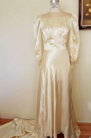 vintage 1930s champagne satin wedding gown toadstool farm