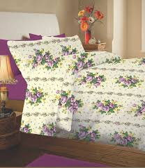 double bed thermal flannelette sheet set floral lilac lucinda 100