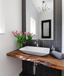 Modern Powder Room Sinks Rustic Natural Edge Timber Slab For This Vanity Top Beautiful