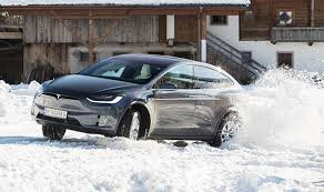 tesla model s and model x winter snow driving test electric cars