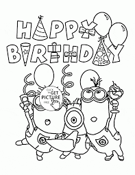 happy birthday from minions coloring page for kids holiday