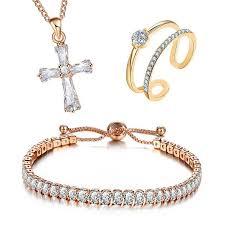 bracelet ring jewelry images 3pcs set crystal jewelry set cross pendant bracelet ring jpg