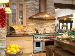 rustic kitchen with natural stone wall and white cabinet kitchen