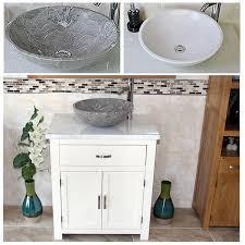 Wooden Vanity Units For Bathroom Bathroom Vanity Unit White Painted White Marble Top