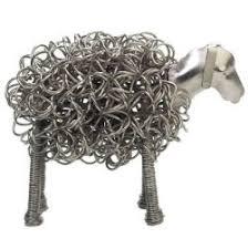 wiggle sheep metal sculpture ornament