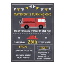 fire engine birthday cards u0026 invitations zazzle co uk
