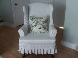 2 Piece Wing Chair Slipcover White Linen Wingback Chair Slipcover And Floral Pattern Cushions