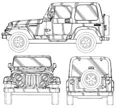 lifted jeep drawing jeep car blueprints die autozeichnungen les plans d