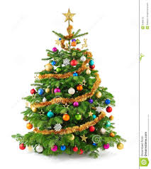 lush tree with colorful ornaments stock photo image