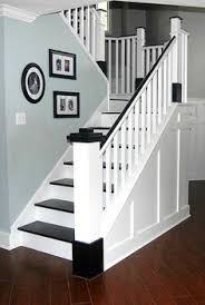 Painted Banisters Painted Staircase Makeover With Seagrass Stair Runner Painted