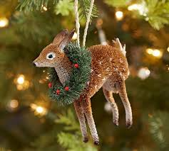 bottlebrush deer with wreath ornament pottery barn