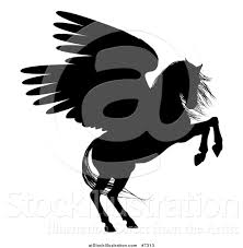 vector illustration of a rearing winged pegasus horse by