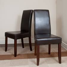 furniture brown leather parsons chairs for dining room decor idea