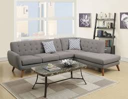 living room zuo puget modern sectional sofa in gray side angle