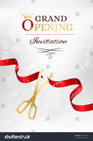 Invitation Card Of Opening Ceremony Grand Opening Invitation Card Cut Red Stock Vector 461232094