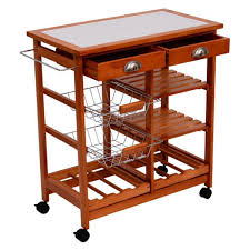 amazon com homcom 26 in portable rolling tile top kitchen