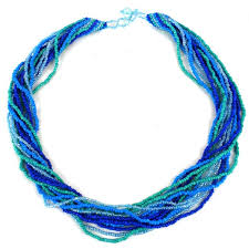 handmade beaded necklace images Shop handmade 12 strand beaded necklace blue green guatemala jpg
