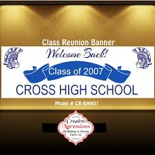 high school reunion banners class reunion banner blue and white banner class of banner