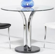 square glass pub table 36 inch round dining table with black marble base and chrome legs