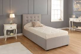 Single Ottoman Storage Bed by Regal Grey Fabric Buttoned Headboard End Lift Ottoman Storage 3ft