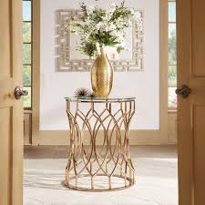davlin modern glam round glass top metal foyer table by inspire q