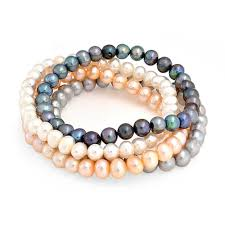 pearl bracelet set images Set of 4 freshwater pearl stretch bracelet white grey pink peacock jpg