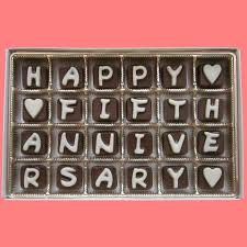 fifth anniversary gift happy fifth anniversary cubic chocolate by what candy says on zibbet