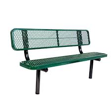 ultra play 6 ft diamond green commercial park bench with back
