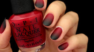 matte black u0026 red ombre nails easy for halloween youtube