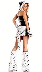 Halloween Corset Costumes 8 Piece Faux Fur Dalmatian Corset Costume