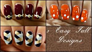 3 easy fall nail designs for beginners youtube