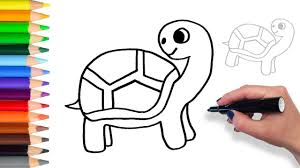 learn how to draw turtle teach drawing for kids and toddlers