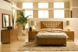 Modern Wood Bed Frame Glossy Dark Table Standing By Brown Carpets Near Nightstand And