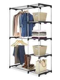 amazon com whitmor double rod closet freestanding silver black