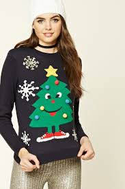 christmas tree jumper with lights a midweight knit sweater featuring a holiday tree with a face