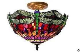 Dragonfly Light Fixture Stained Glass Style Light Fixture Dragonfly Ceiling L