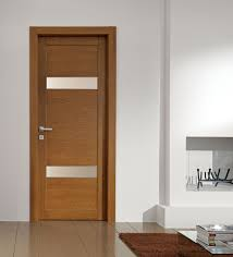 interior door styles for homes light brown wooden single door with two stripped frosted glass
