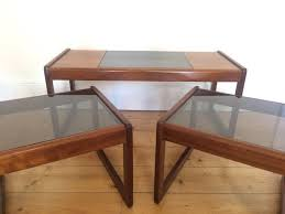 glass coffee table nest g plan coffee table nest of 3 teak smoked glass home
